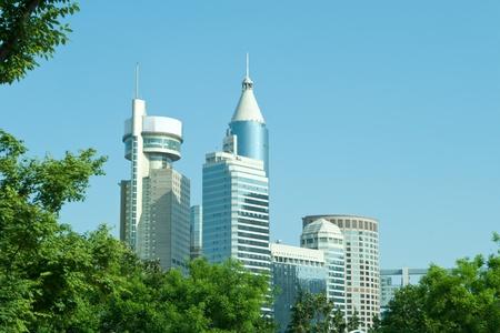 tinted: Modern Office Buildings in Shanghai China Skyline