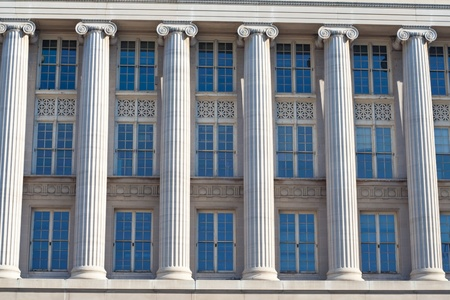 neoclassical: Imposing facade of a federal office building in Washington, DC
