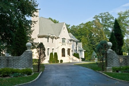 eclectic: French Eclectic Revival style single family housechateau in suburban Philadelphia, Pennsylvania Editorial