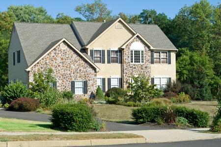 Modern stone faced single family house in suburban Philadelphia, PA