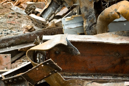 i beam: Pile of Scrap Steel at Building Demolition Site