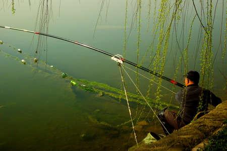 Spring fishing in the lake