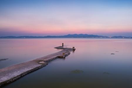 Empty taihu Lake and Scenery skyline panorama in Suzhou China