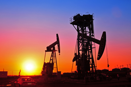 orange sunset: Oil Pump on orange sunset