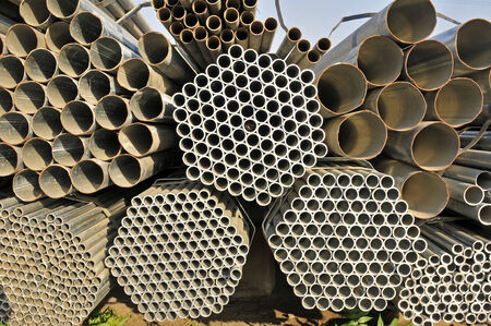 Steel pipe, heavy industry, close-up images Imagens
