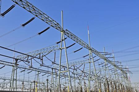 Line of high voltage electrical converter equipment in power plant photo