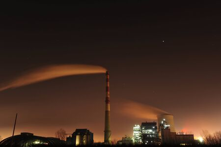 electric grid: Power plant at night