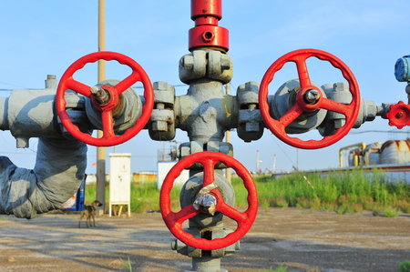 oil pump: Valves and piping Stock Photo