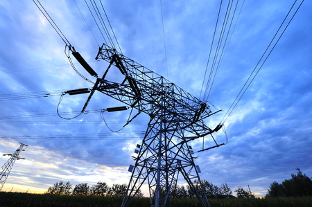 electric grid: High voltage towers and power lines