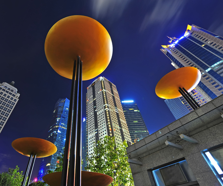 commercial real estate: the night view of the lujiazui financial centre in shanghai china. Editorial