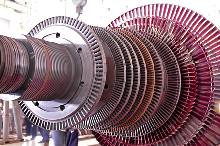 Industrial steam turbine at the workshop 스톡 콘텐츠