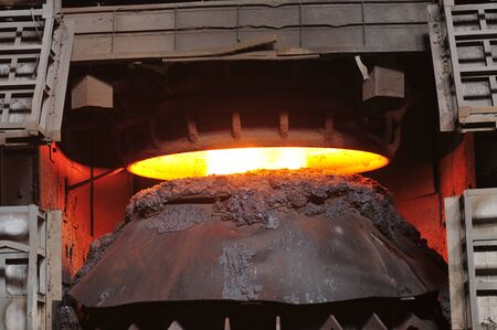 crucible: Smelting of metal casting, steel Stock Photo