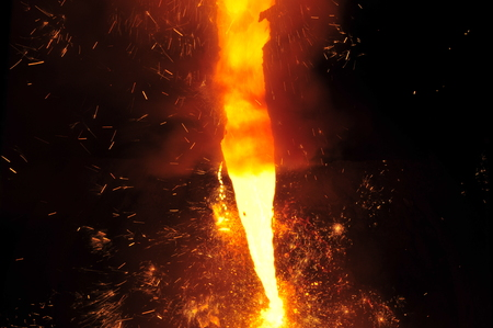 Smelting of metal casting, steel Stock Photo