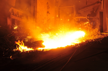 metal casting: Smelting of metal casting, steel Stock Photo