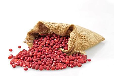 adzuki bean: Red adzuki bean and sacks on a white background