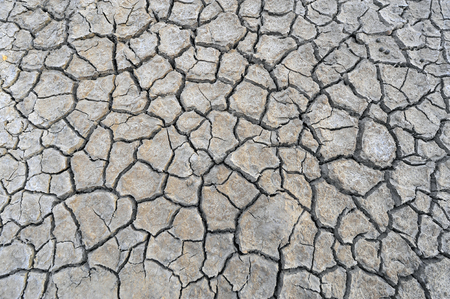 the silence of the world: Dry soil cracking Stock Photo