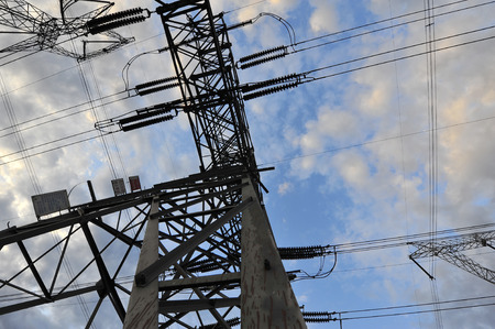 electric power: High voltage towers and power lines