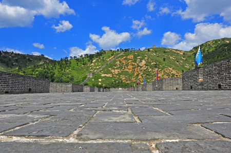 simatai: The Great Wall view under the blue sky Stock Photo