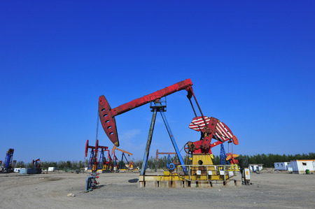 oil well pumper: The oil pump Stock Photo