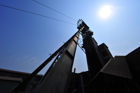 coking: The derrick on the coal mine Stock Photo