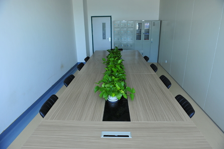 end of a long day: The modern office conference room