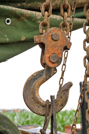 rusty chain: Rusty steel chain, close-up pictures Stock Photo