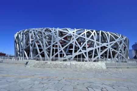 中国の鳥の巣の国立オリンピック スタジアム 報道画像