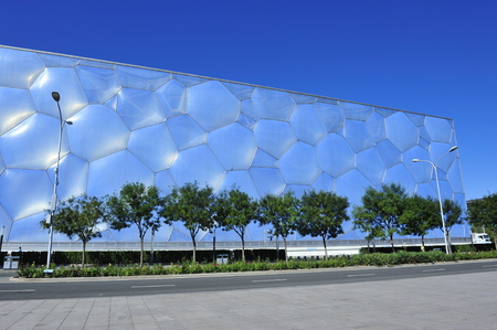 The water cube swimming pool building in Beijing 報道画像