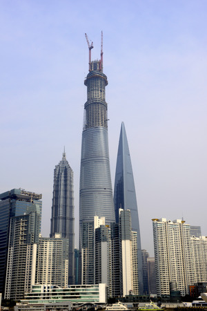 Oriental Pearl Tower and Shanghai World Financial Center Jin Mao Tower with shanghai skyline.