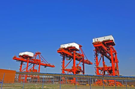 shipbuilding: The port crane Stock Photo