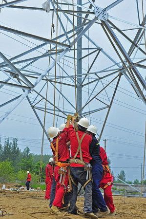 Pylon construction workers