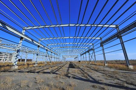 unfinished building: Steel frame structure