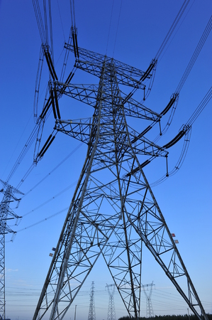 Portrait view of pylon under the clear blue sky