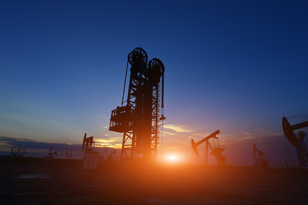 The oil pump during sunset