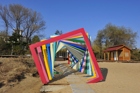 Colorful building corridor