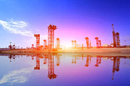 The oil pump landscape view during sunset