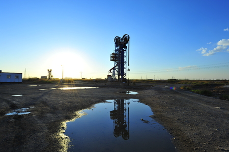 The oil pump in an oil field Stock Photo