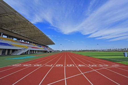 La pista sul campo sportivo Archivio Fotografico