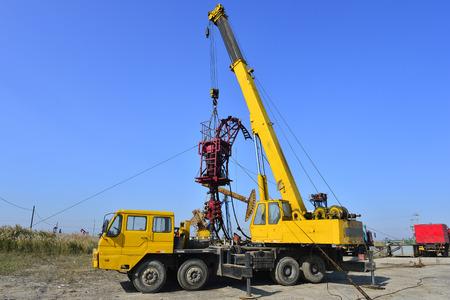 Landscape view of an oil pump in an oil field