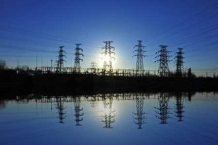Landscape view of pylons under the blue sky Stock Photo