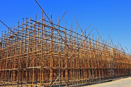 Production of reinforced concrete frame construction site