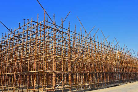 Production of reinforced concrete frame construction site