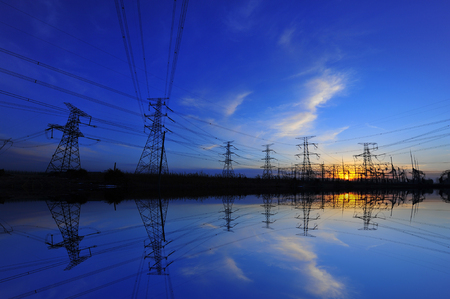 pylon landscape view during sunset