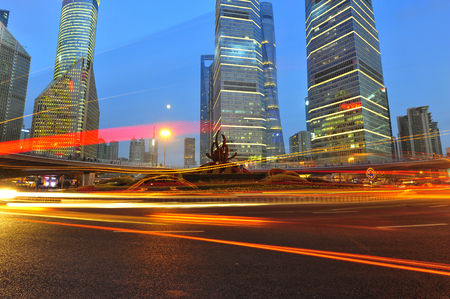 the night view of the lujiazui financial centre in shanghai china. Stok Fotoğraf
