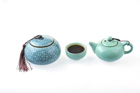 tea set on white background Stok Fotoğraf