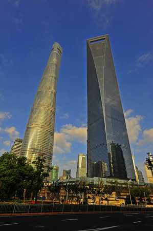 Shanghai world financial center skyscrapers in lujiazui group  Editorial