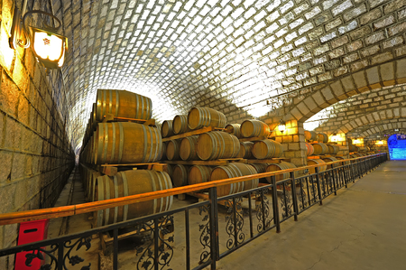 Wine cellar and wooden barrels