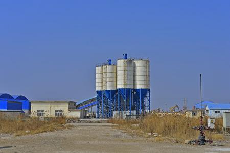 Cement mixing silo Stock Photo