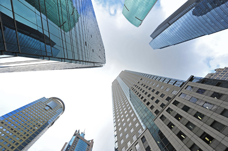 Shanghai world financial center skyscrapers in lujiazui group  Stock Photo