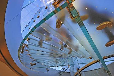 Modern glass stair in Shanghai, China Banco de Imagens